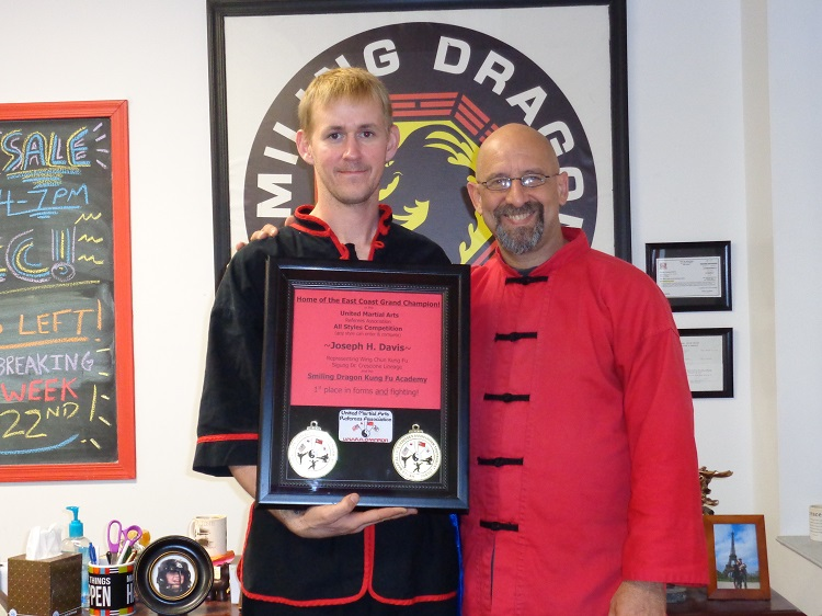 Sifu Shaman with his student Joe Davis, who had just defeated schools from Florida to Maine to be named East Coast Grand Champion in forms and fighting!